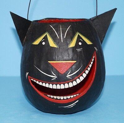 HALLOWEEN BLACK CAT Face Lantern Basket