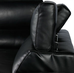 Left sided L-shaped leather sectional with adjustable headrests