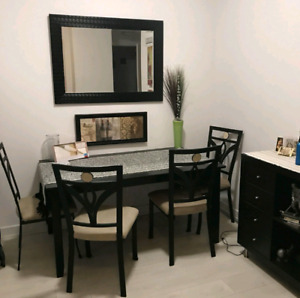 Dining / Kitchen Wood Table with Wrought Iron Chairs