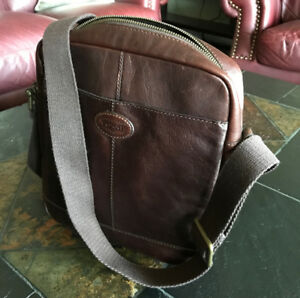Fossil Mens Brown Leather Shoulder/Cross Body Bag