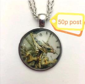 Jewellery Accessory Women's Woman's Necklace Cabochon Silver Dragon