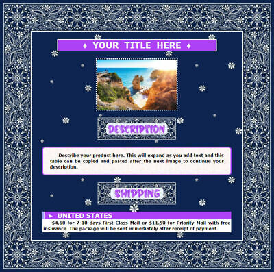 AUCTION TEMPLATE Navy Blue Floral Design Border - FREE SHIPPING - $2.49