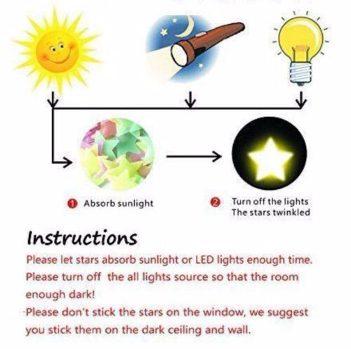 Blue 100 3D Wall Ceiling Glow In The Dark Stars with Moon Kids Plastic Stickers 5