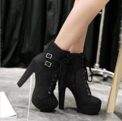 New Womens Platform Ankle Boot Goth Buckle Lace Up Motor  High Heel Pumps (Ankle Boot Pump)
