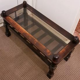 Brown Wood/Glass Coffee Table