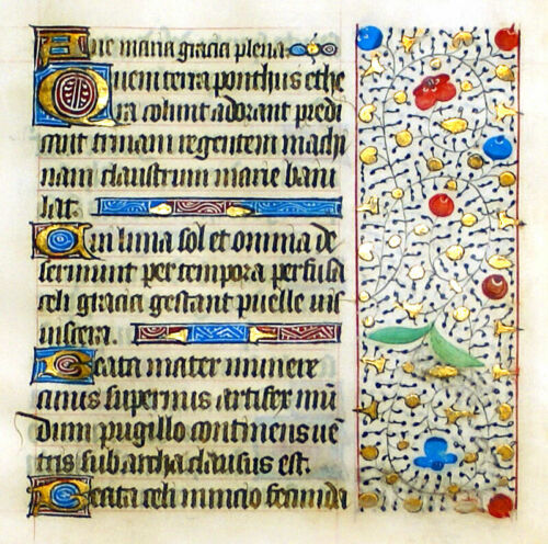 LOVELY ILLUMINATED MANUSCRIPT BOOK OF HOURS LEAF 1450 9 INITIALS GOLD IN BORDERS