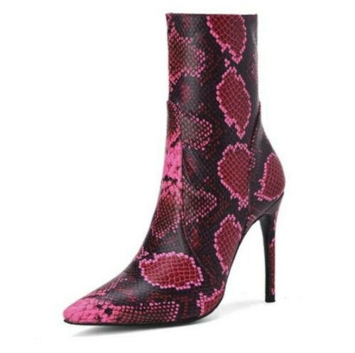 Ladies Stilettos High Heels Ankle Boots Party Shoes Snakeskin Print Runway Party