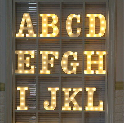 (Number 26Letters White LED Night Light Marquee Sign Alphabet Lamp Birthday Party)