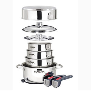 MAGMA 10 PC GOURMET NESTING STAINLESS STEEL COOKWARE SET