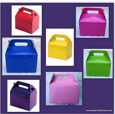 Party 12 BOXES Gable Bag Loots Blue Pink Red Black White Yellow Orange Green - Pink Gable Boxes