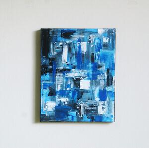 "Blue Monochromatic Abstract Modern Art Acrylic Painting 10"" x 8"""