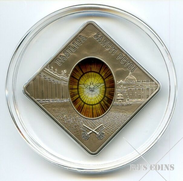 RARE 2011 $10 Silver Proof Antique Square Coin-Sacred Art Holy Windows series-Basilica Sancti Petri