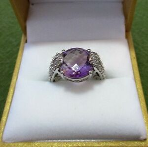 Vintage 10k White Gold Ring with Natural Amethyst and Diamonds