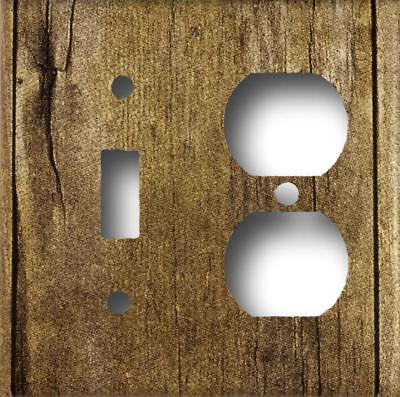 Rustic Barn Wood Design Look Single Toggle Duplex Outlet Combo  Wall Plate  ()