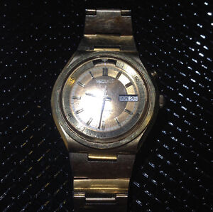 Vintage Seiko gold plated bell-matic automatic watch