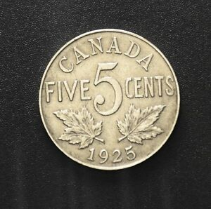 1925 Canadian 5 cent (Rare Low mintage) Very Sharp Condition