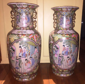 Pair of Large CHINESE Porcelain Hand Painted Palace VASES Gold