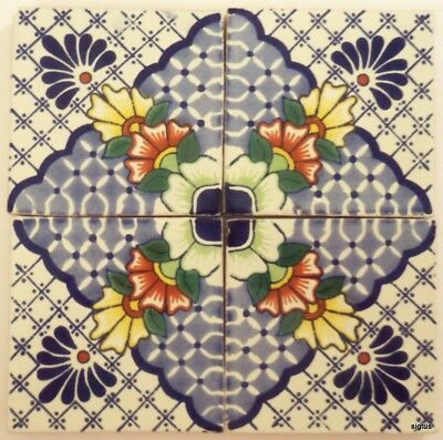 Beautiful Mexican Talavera 4 X 4 Tiles in Pattern of 4 Tiles~Kitchen Backsplash
