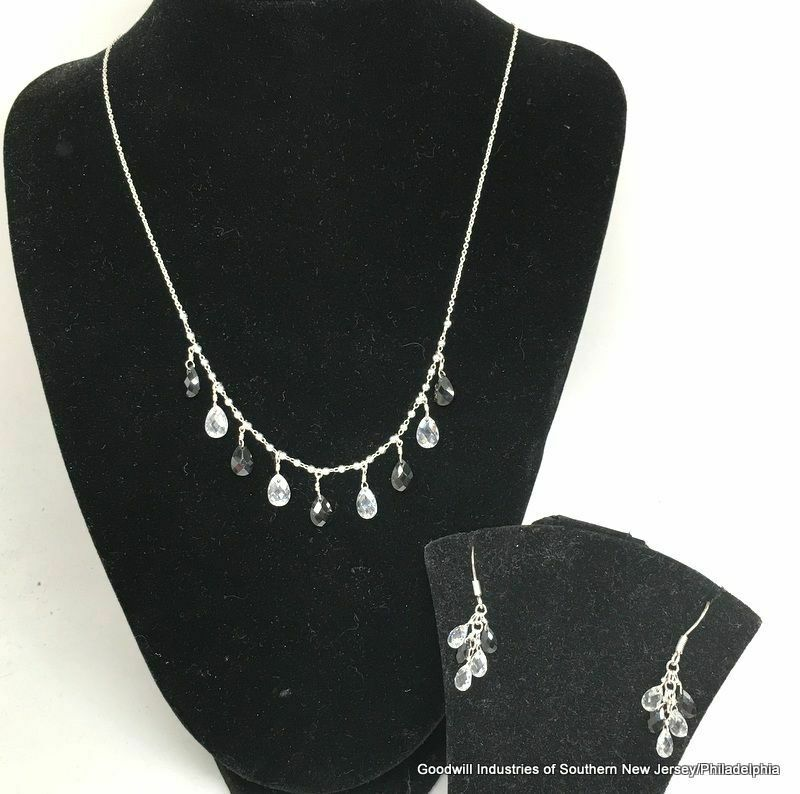 Sterling Silver Black/White Crystal Jewelry Set