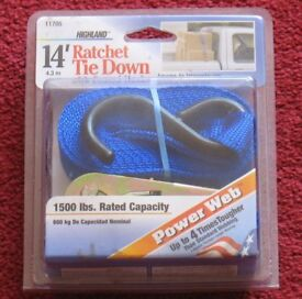 RATCHET TIE DOWN with coated hooks, 14' 4.3m BRAND NEW CELLOPHANE SEALED/WRAPPED, 1500 LBS RATED