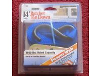 RATCHET TIE DOWN WITH COATED HOOKS, 14' 4.3M BRAND NEW & PACKAGED, 1500 LBS RATED CAPACITY