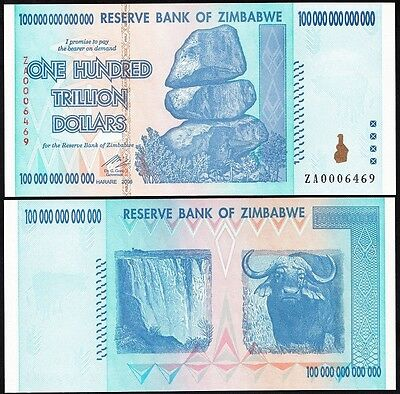 Zimbabwe 100 Trillion Dollars, 2008, P-91,UNC,Replacement ZA,100 Trillion Series