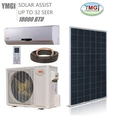 YMGI 18000 BTU 1.5Ton Solar Assist Ductless Mini Split Air Conditioner heat pump