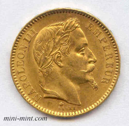 France 1863A Gold 20 Francs French Coin, Emperor Napoleon III Lightly Circulated