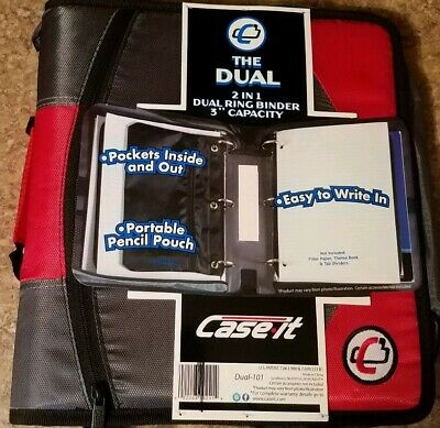 Case It The Dual 2 In 1 Dual Ring Binder 3 Capacity Red