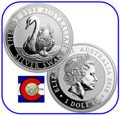 2018 Australia Silver Swan 1 oz Coin - BU direct from Perth Mint roll