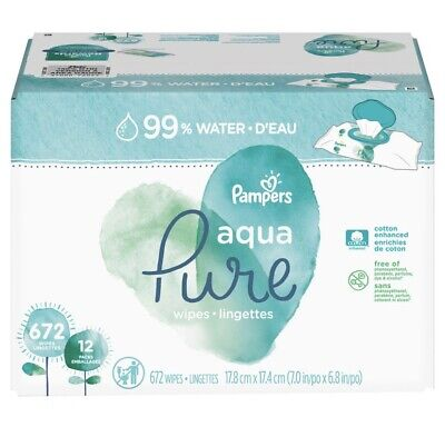 Pampers Aqua Pure Baby Wipes 12 Flip-Top Packs, 672 Ct