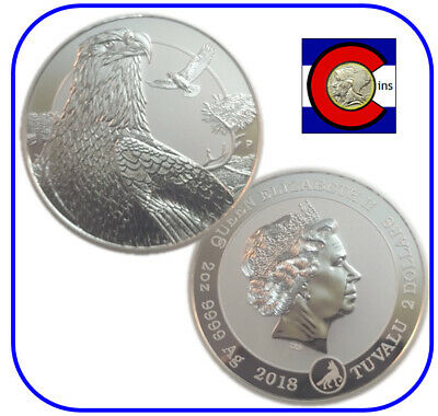 2018 Tuvalu Bald Eagle 2 oz silver piedfort coin in capsule - roll of 10 coins