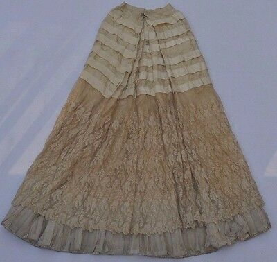 Antique Victorian Edwardian Lace Layer Panel Skirt Brussels Old Vintage Lace