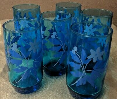 6 Vintage Flower Floral Mid Century Drinking Glasses Blue -