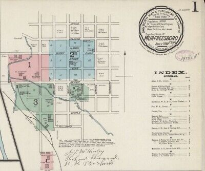 Murfreesboro, Tennessee~Sanborn Map© sheets~1887 to 1897 with 17 maps in COLOR