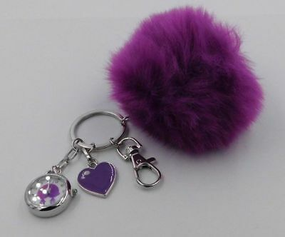DreamWorks Trolls NWT Faux Fur Purple Pom Pom Keychain Watch Charm Purse NIB