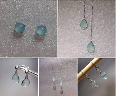 Sterling Silver Natural Aqua/Blue Chalcedony Earrings *Various Shapes & Styles*  ()