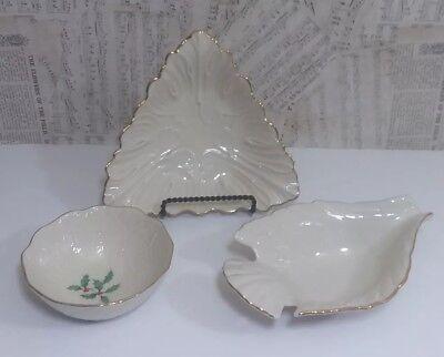 LENOX LOT, Dove Bird, Triangle, Special Bowl Ivory Cream Porcelain 24k Gold