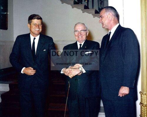JOHN F. KENNEDY WITH HARRY TRUMAN AND LYNDON JOHNSON - 8X10 PHOTO (OP-766)