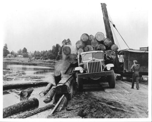 1940s STERLING H Model Unloading Logs in Pacific Northwest pond 8x10 B&W Photo