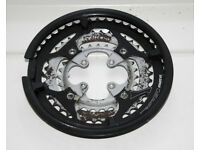 SR Suntour triple bicycle chainrings with guard, 104mm bolt spacing, 28/38/48T
