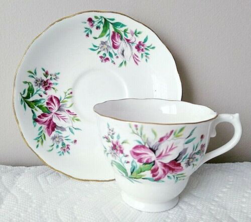 Colclough Tea Cup and Saucer Pink Purple Flowers Green Leaves Bone China England