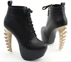 Womens-Special-Sexy-High-Dinosaur-Bone-Looks-Heels-Platform-Boots-Shoes-UK2-5-6