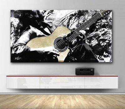 Gitarre Gitarrist Musik Abstrakt Bilder auf Leinwand Kunst Wandbild xxl 2337A ()