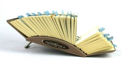 Vtg Metal Rolodex Jr. Model V524-J Steampunk Address Card Organizer w Cards