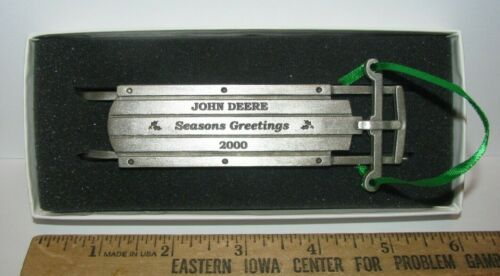 *John Deere Leaping Deer Logo 2000 Pewter Sled Christmas Ornament Spec Cast Xmas
