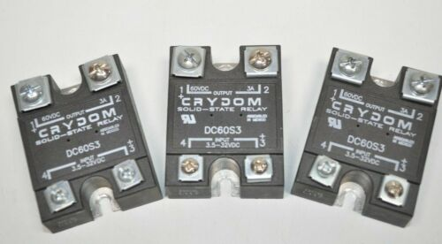 Lot of 3 Crydom DC60S3 3.5-32VDC Control, 3A 60VDC Load Solid State Relays
