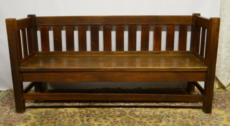 Antique Mission Even Arms Solid Oak Settle Sofa Bench Settee Original finish
