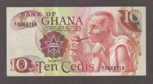 1977 10 CEDIS BANK OF GHANA CURRENCY UNC BANKNOTE NOTE MONEY BILL CASH AFRICA CU