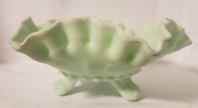 "Fenton Lime-Green Candy Dish Bowl - Milk Glass, Satin Finish 8"" x 3.5"""